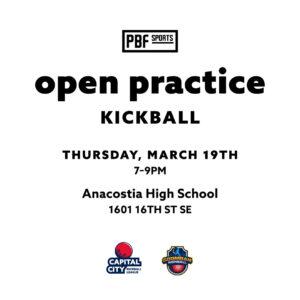 kickball open practice